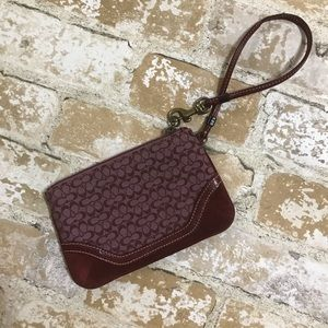 Maroon Coach Wristlet with Suede Details